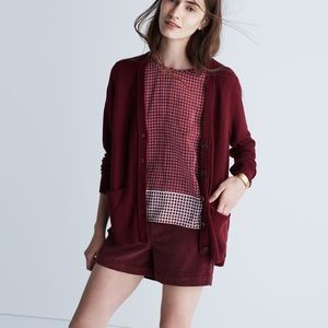 Madewell Seedstich Cardigan Burgundy Button Red L